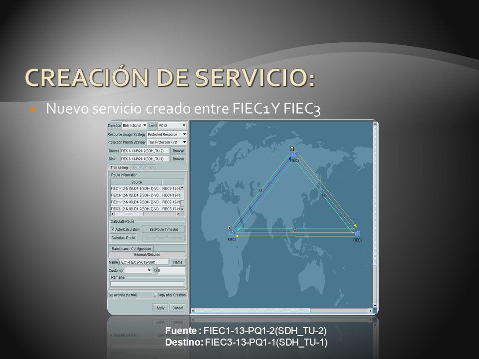 Nuevo servicio creado entre FIEC1 Y FIEC3 Fuente : FIEC1-13-PQ1-2(SDH_TU-2) Destino: FIEC3-13-PQ1-1(SDH_TU-1)