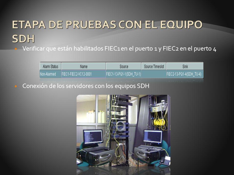 Verificar que están habilitados FIEC1 en el puerto 1 y FIEC2 en el puerto 4 Conexión de los servidores con los equipos SDH