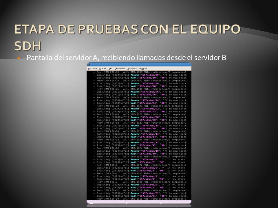 Pantalla del servidor A, recibiendo llamadas desde el servidor B