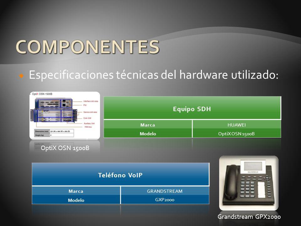 Especificaciones técnicas del hardware utilizado: Equipo SDH Marca HUAWEI ModeloOptiX OSN 1500B Teléfono VoIP Marca GRANDSTREAM Modelo GXP2000 Grandst