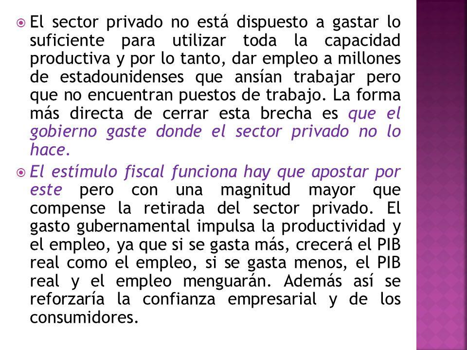 El sector privado no está dispuesto a gastar lo suficiente para utilizar toda la capacidad productiva y por lo tanto, dar empleo a millones de estadou
