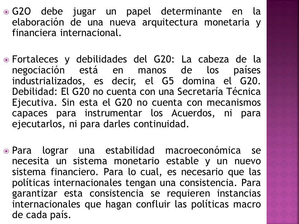 G2O debe jugar un papel determinante en la elaboración de una nueva arquitectura monetaria y financiera internacional. Fortaleces y debilidades del G2