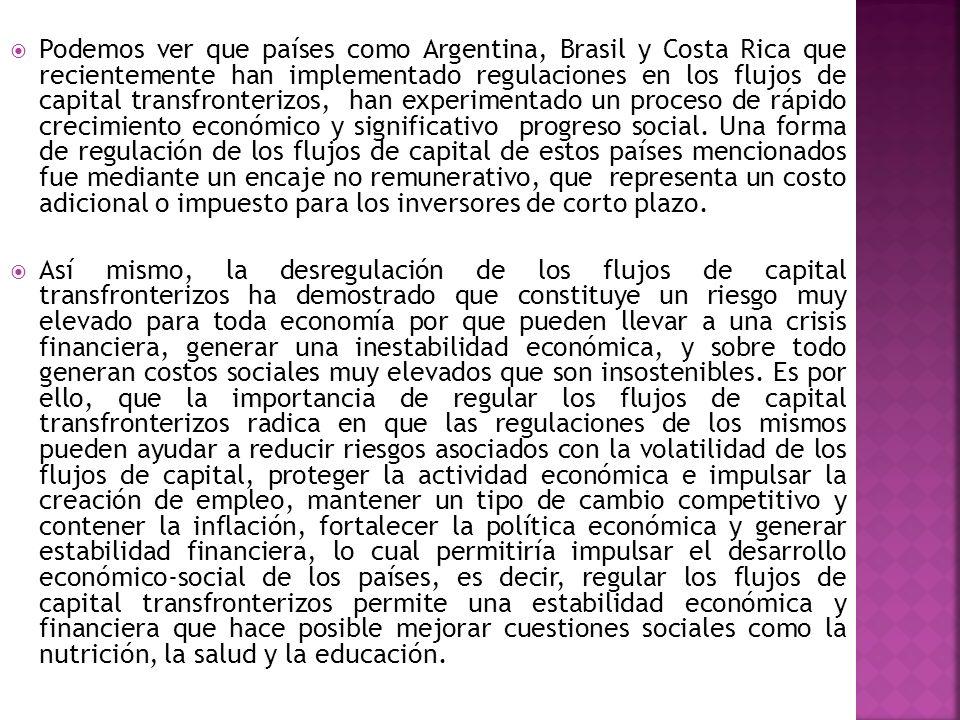 Podemos ver que países como Argentina, Brasil y Costa Rica que recientemente han implementado regulaciones en los flujos de capital transfronterizos,