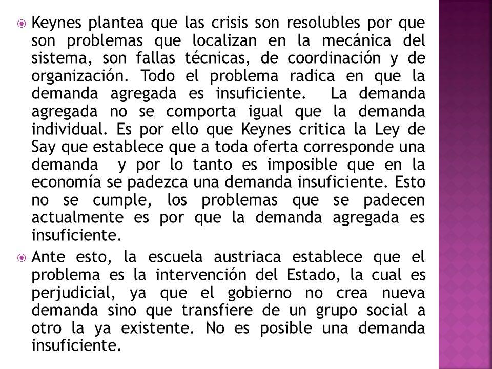 Keynes plantea que las crisis son resolubles por que son problemas que localizan en la mecánica del sistema, son fallas técnicas, de coordinación y de