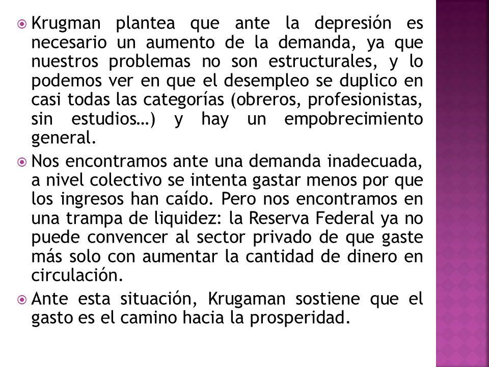 Krugman plantea que ante la depresión es necesario un aumento de la demanda, ya que nuestros problemas no son estructurales, y lo podemos ver en que e