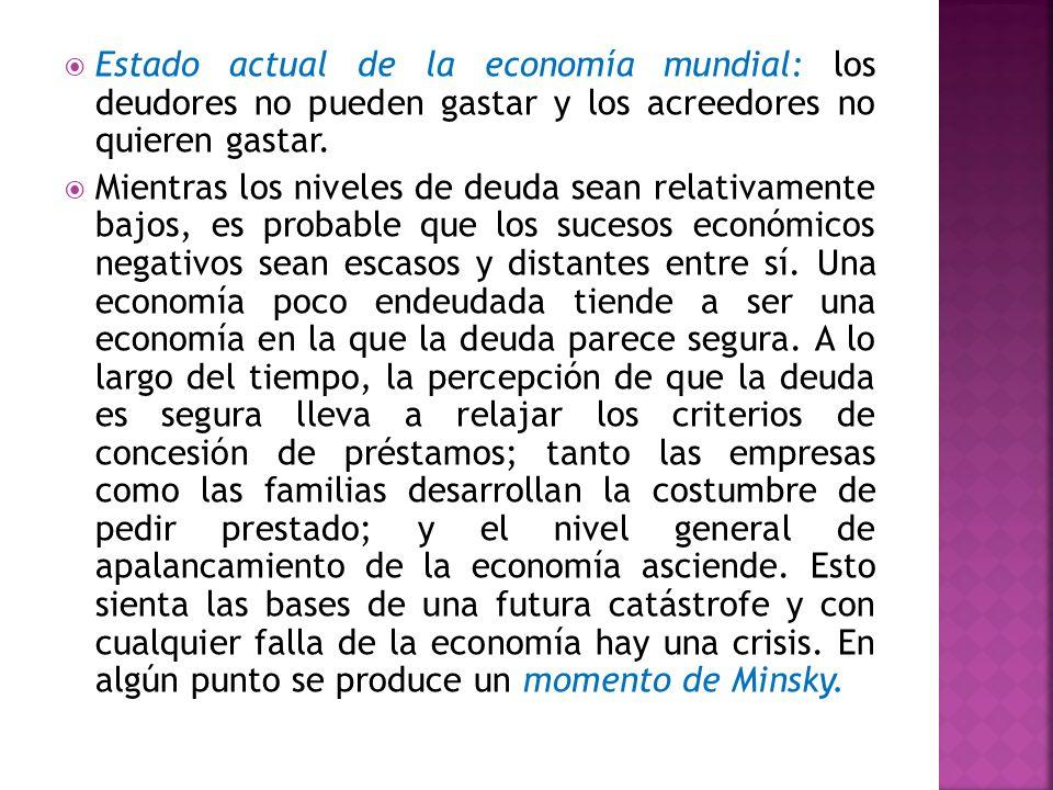 Estado actual de la economía mundial: los deudores no pueden gastar y los acreedores no quieren gastar. Mientras los niveles de deuda sean relativamen
