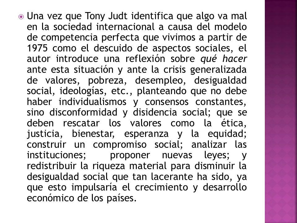 Una vez que Tony Judt identifica que algo va mal en la sociedad internacional a causa del modelo de competencia perfecta que vivimos a partir de 1975