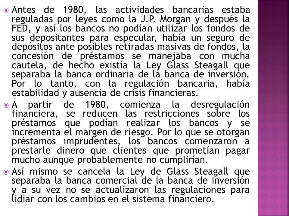 Antes de 1980, las actividades bancarias estaba reguladas por leyes como la J.P. Morgan y después la FED, y así los bancos no podían utilizar los fond