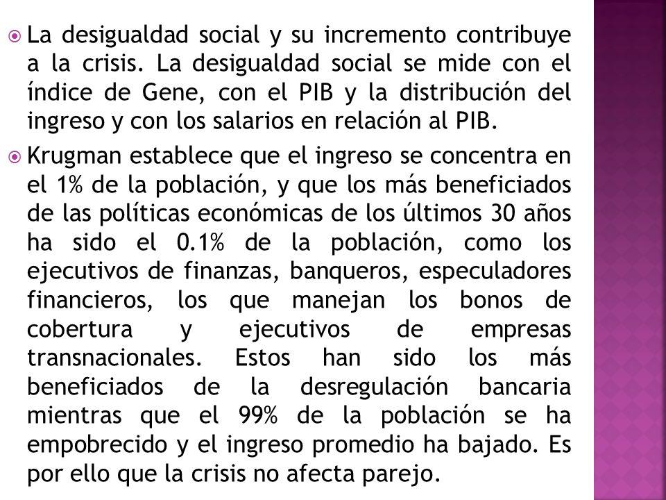 La desigualdad social y su incremento contribuye a la crisis. La desigualdad social se mide con el índice de Gene, con el PIB y la distribución del in