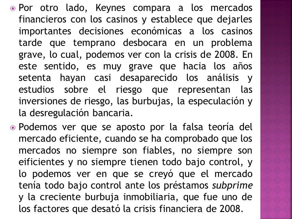 Por otro lado, Keynes compara a los mercados financieros con los casinos y establece que dejarles importantes decisiones económicas a los casinos tard