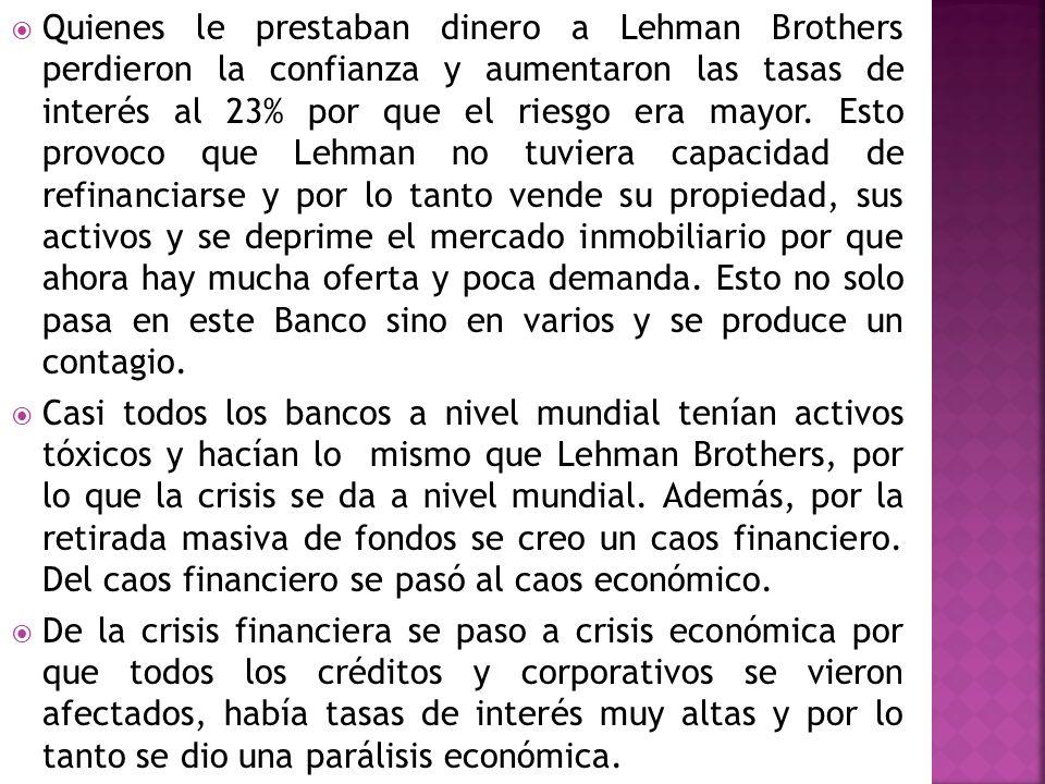 Quienes le prestaban dinero a Lehman Brothers perdieron la confianza y aumentaron las tasas de interés al 23% por que el riesgo era mayor. Esto provoc