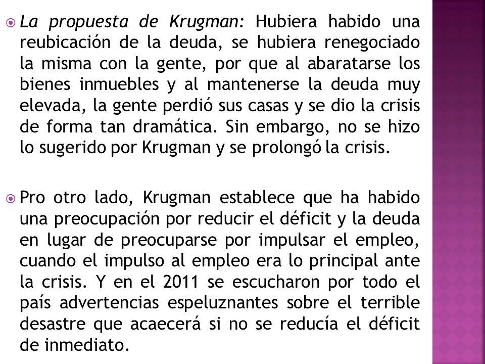 La propuesta de Krugman: Hubiera habido una reubicación de la deuda, se hubiera renegociado la misma con la gente, por que al abaratarse los bienes in