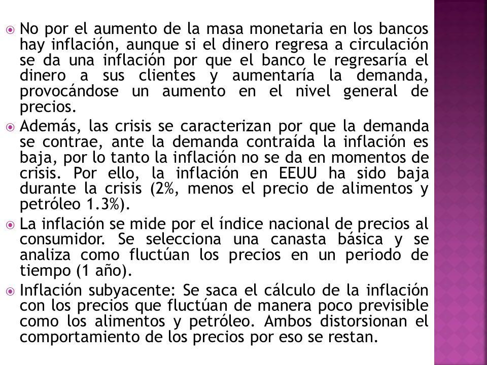 No por el aumento de la masa monetaria en los bancos hay inflación, aunque si el dinero regresa a circulación se da una inflación por que el banco le