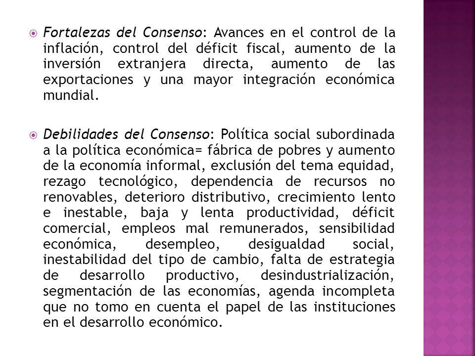 Fortalezas del Consenso: Avances en el control de la inflación, control del déficit fiscal, aumento de la inversión extranjera directa, aumento de las