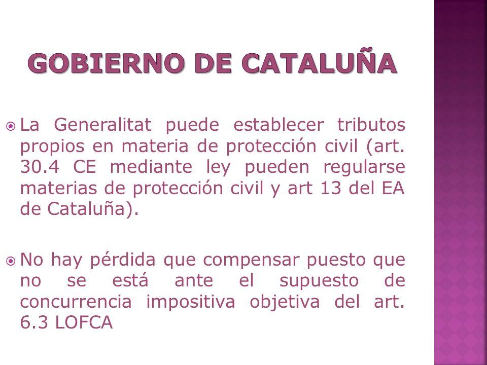 La Generalitat puede establecer tributos propios en materia de protección civil (art. 30.4 CE mediante ley pueden regularse materias de protección civ