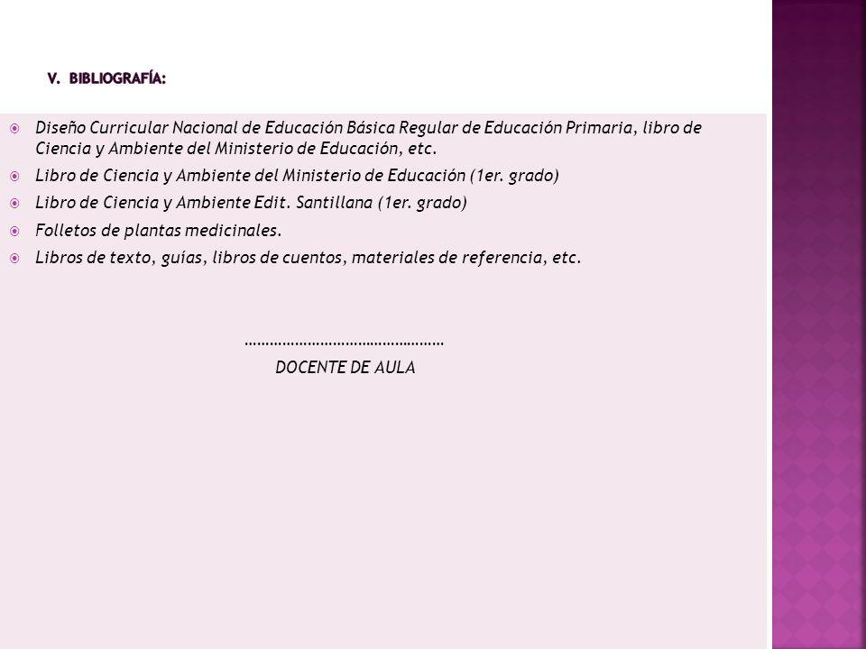 Diseño Curricular Nacional de Educación Básica Regular de Educación Primaria, libro de Ciencia y Ambiente del Ministerio de Educación, etc. Libro de C