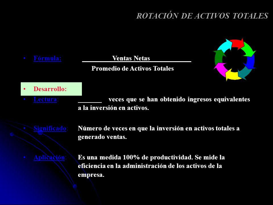 Fórmula: Ventas Netas Promedio de Activos Totales Desarrollo: Lectura: veces que se han obtenido ingresos equivalentes a la inversión en activos. Sign