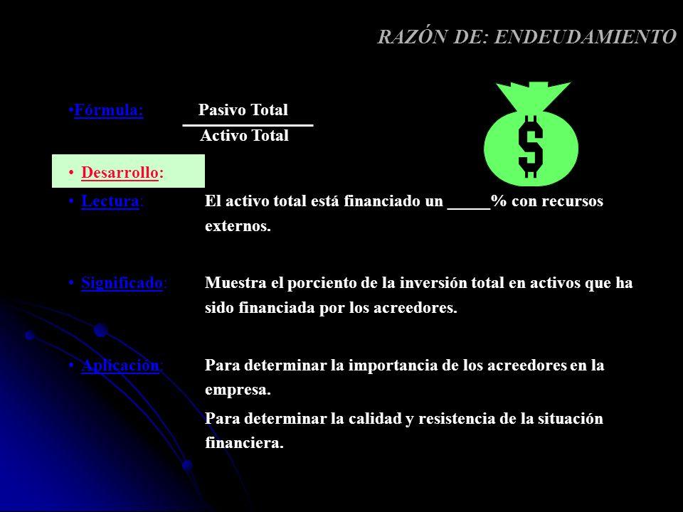 RAZÓN DE: ENDEUDAMIENTO Desarrollo: Lectura: El activo total está financiado un _____% con recursos externos. Significado: Muestra el porciento de la