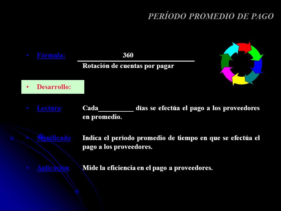 Fórmula: 360 Rotación de cuentas por pagar Desarrollo: Lectura: Cada__________ días se efectúa el pago a los proveedores en promedio. Significado: Ind