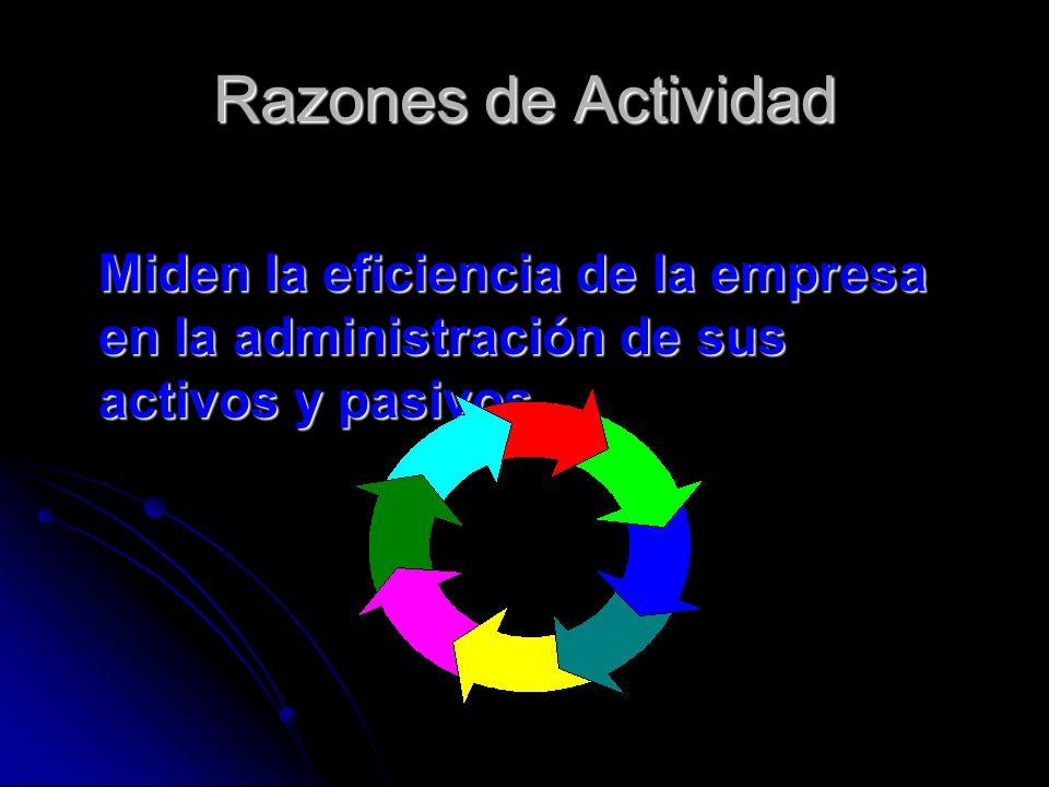 Razones de Actividad Miden la eficiencia de la empresa en la administración de sus activos y pasivos