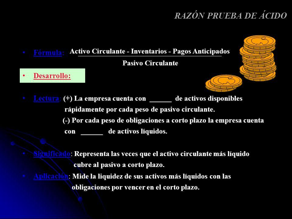 Fórmula: 360 Rotación de cuentas por pagar Desarrollo: Lectura: Cada__________ días se efectúa el pago a los proveedores en promedio.
