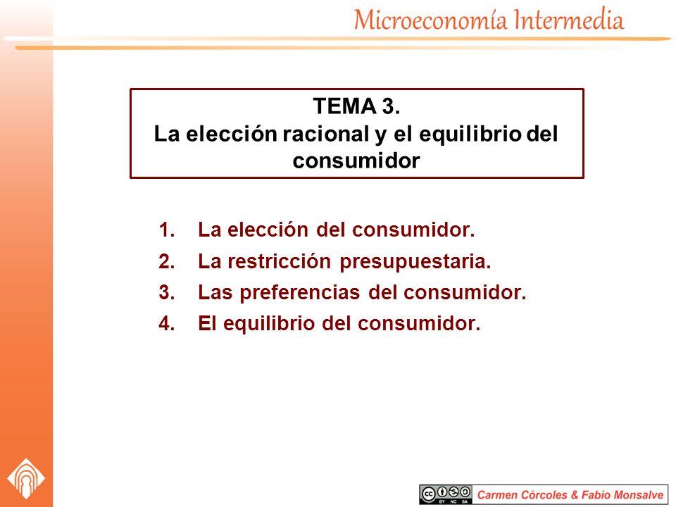 1.La elección del consumidor. 2.La restricción presupuestaria. 3.Las preferencias del consumidor. 4.El equilibrio del consumidor. TEMA 3. La elección