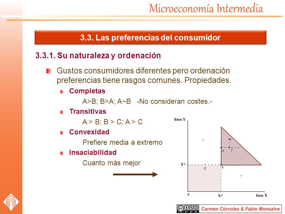 3.3. Las preferencias del consumidor 3.3.1. Su naturaleza y ordenación Gustos consumidores diferentes pero ordenación preferencias tiene rasgos comune