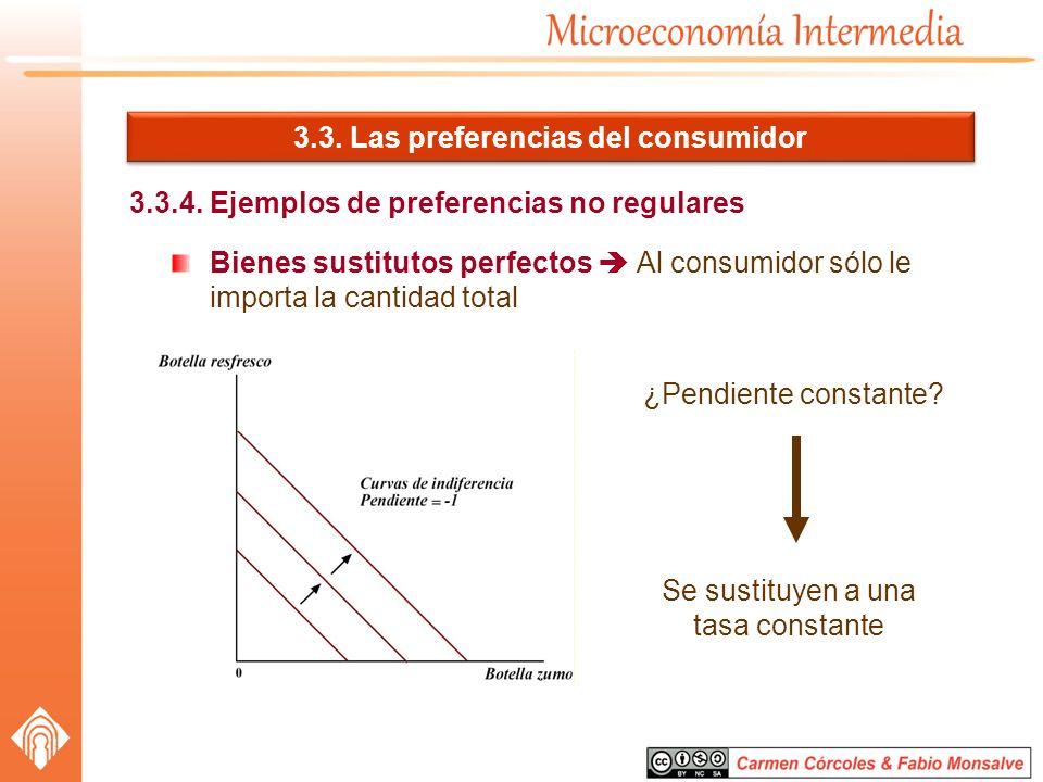 3.3. Las preferencias del consumidor 3.3.4. Ejemplos de preferencias no regulares Bienes sustitutos perfectos Al consumidor sólo le importa la cantida