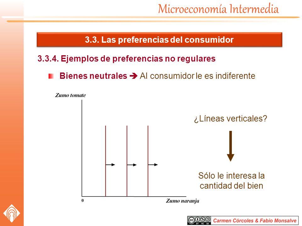 3.3. Las preferencias del consumidor 3.3.4. Ejemplos de preferencias no regulares Bienes neutrales Al consumidor le es indiferente ¿Líneas verticales?
