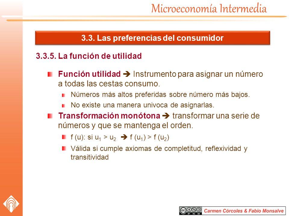 3.3. Las preferencias del consumidor 3.3.5. La función de utilidad Función utilidad Instrumento para asignar un número a todas las cestas consumo. Núm
