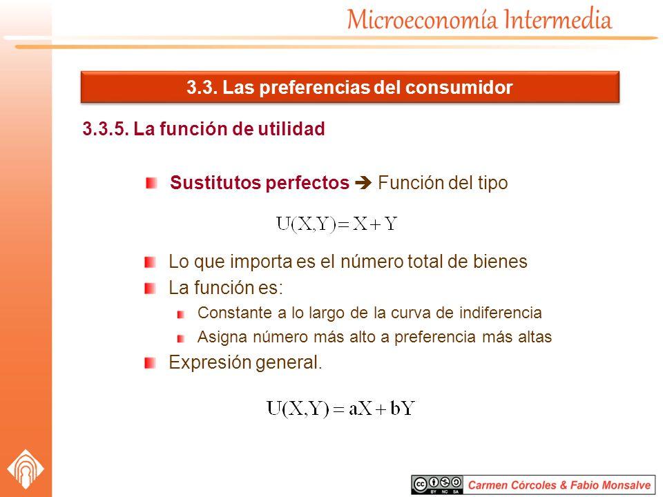 3.3. Las preferencias del consumidor 3.3.5. La función de utilidad Sustitutos perfectos Función del tipo Lo que importa es el número total de bienes L