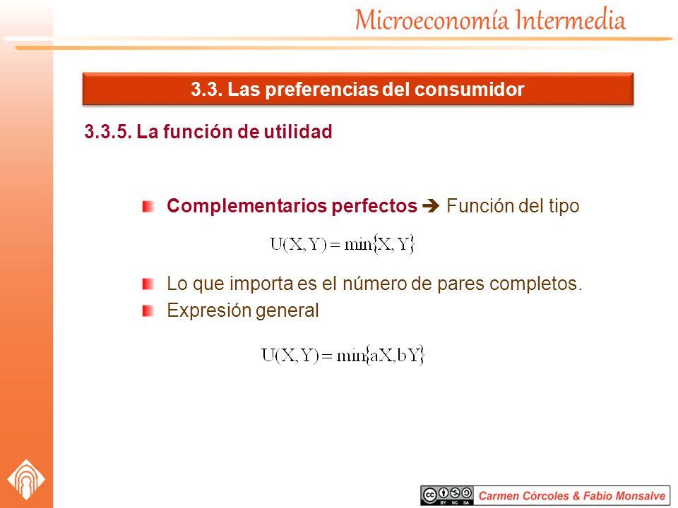 3.3. Las preferencias del consumidor 3.3.5. La función de utilidad Complementarios perfectos Función del tipo Lo que importa es el número de pares com
