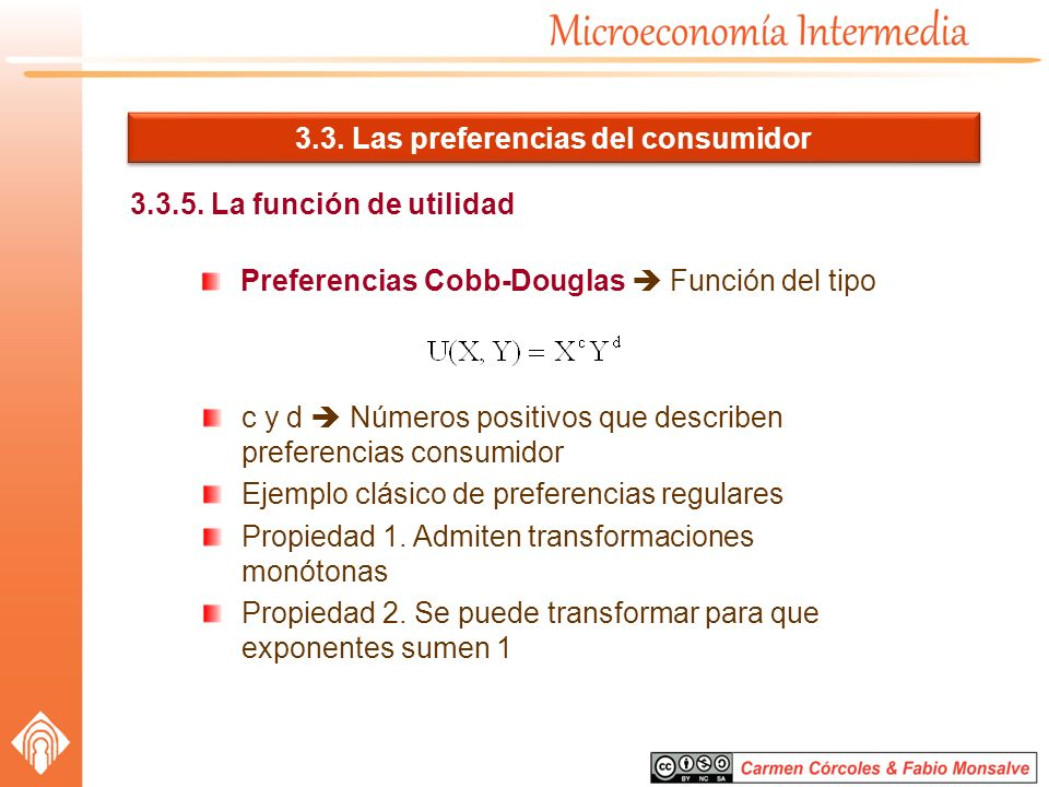 3.3. Las preferencias del consumidor 3.3.5. La función de utilidad Preferencias Cobb-Douglas Función del tipo c y d Números positivos que describen pr