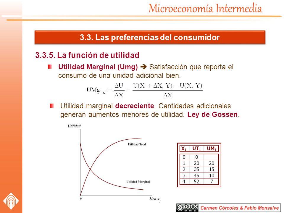 3.3. Las preferencias del consumidor 3.3.5. La función de utilidad Utilidad Marginal (Umg) Satisfacción que reporta el consumo de una unidad adicional