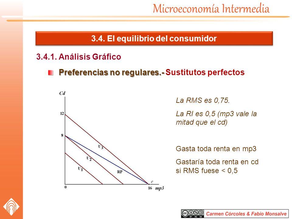 3.4. El equilibrio del consumidor 3.4.1. Análisis Gráfico Preferencias no regulares.- Preferencias no regulares.- Sustitutos perfectos La RMS es 0,75.