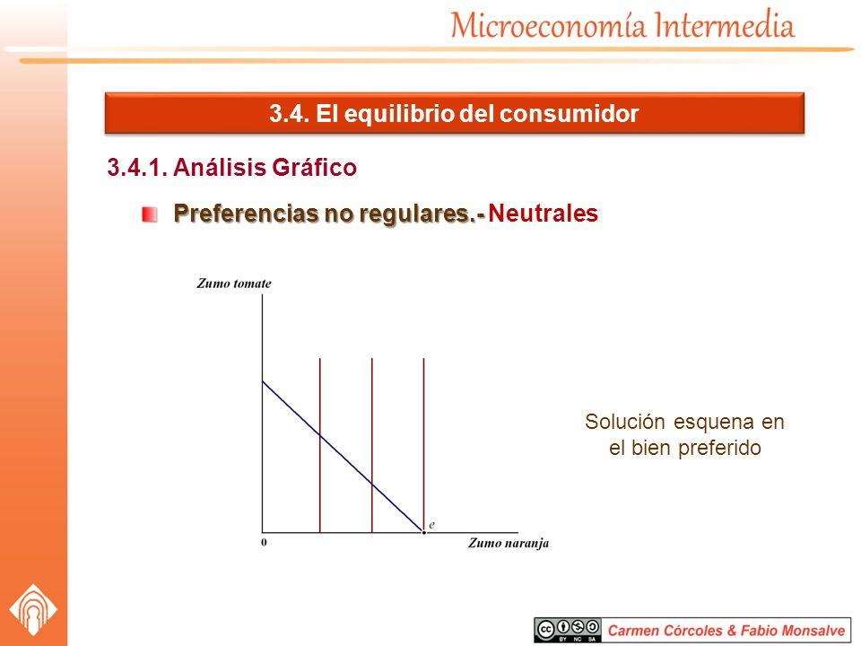 3.4. El equilibrio del consumidor 3.4.1. Análisis Gráfico Preferencias no regulares.- Preferencias no regulares.- Neutrales Solución esquena en el bie
