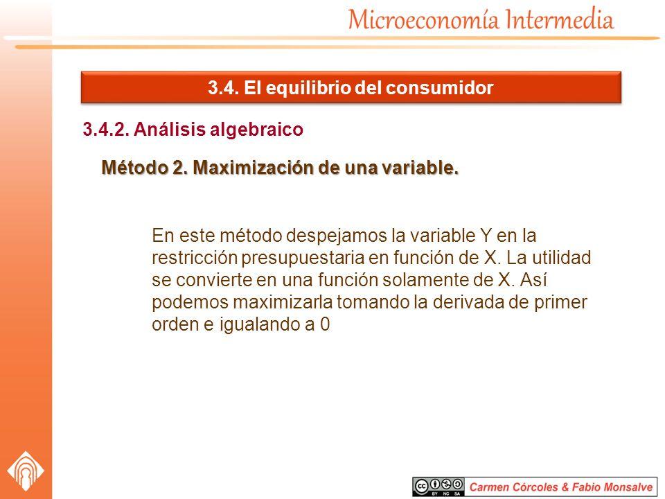 3.4. El equilibrio del consumidor 3.4.2. Análisis algebraico Método 2. Maximización de una variable. En este método despejamos la variable Y en la res