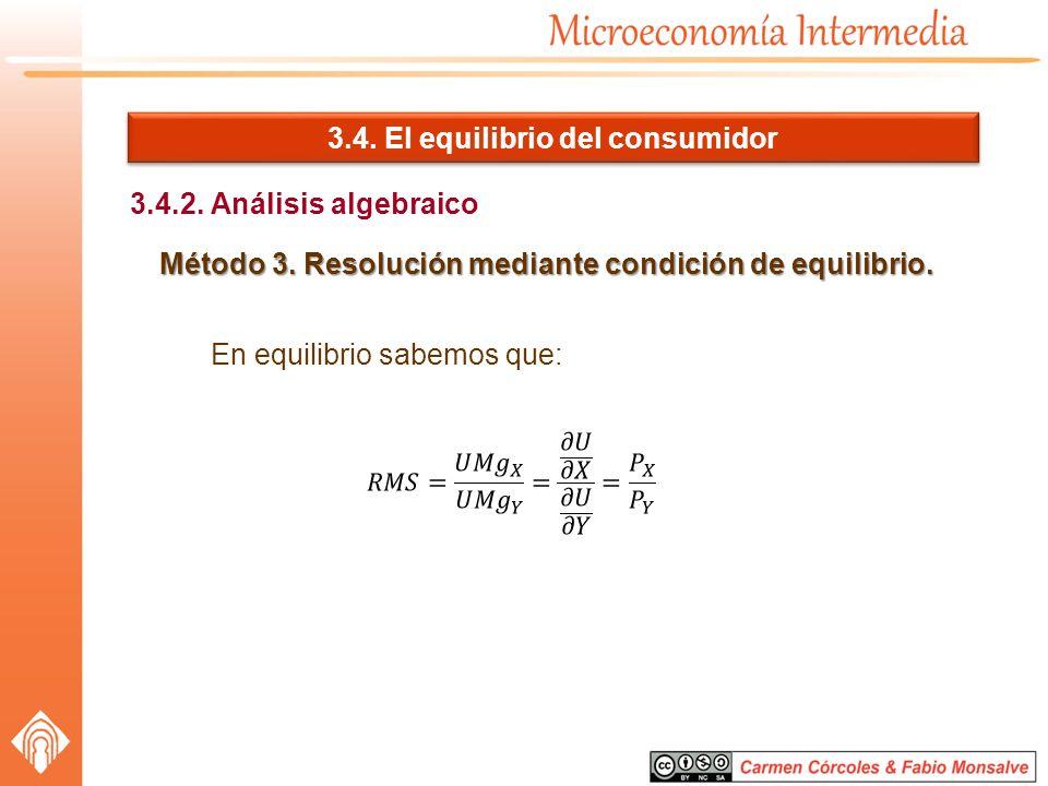 3.4. El equilibrio del consumidor 3.4.2. Análisis algebraico Método 3. Resolución mediante condición de equilibrio. En equilibrio sabemos que: