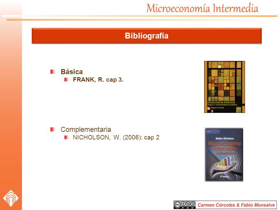 Bibliografía Básica FRANK, R. cap 3. Complementaria NICHOLSON, W. (2006): cap 2
