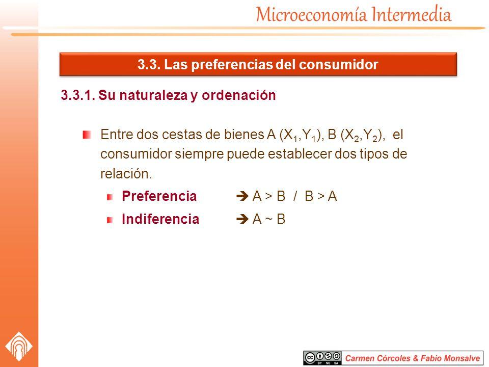3.3. Las preferencias del consumidor 3.3.1. Su naturaleza y ordenación Entre dos cestas de bienes A (X 1,Y 1 ), B (X 2,Y 2 ), el consumidor siempre pu