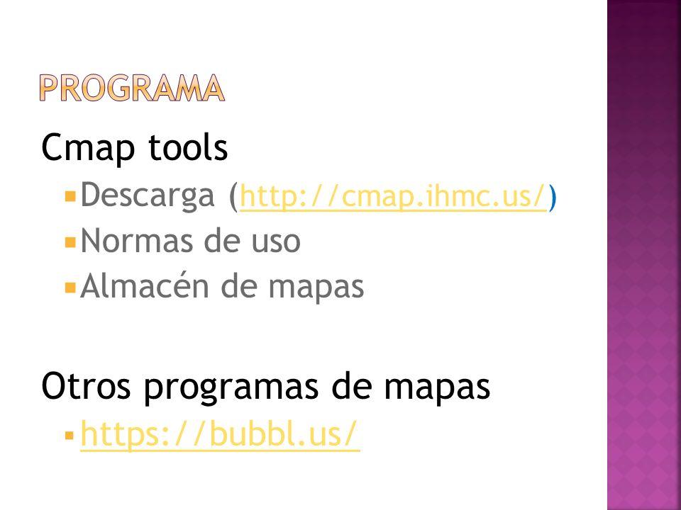 Cmap tools Descarga ( http://cmap.ihmc.us/) http://cmap.ihmc.us/ Normas de uso Almacén de mapas Otros programas de mapas https://bubbl.us/