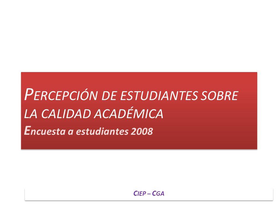 P ERCEPCIÓN DE ESTUDIANTES SOBRE LA CALIDAD ACADÉMICA E ncuesta a estudiantes 2008 C IEP – C GA