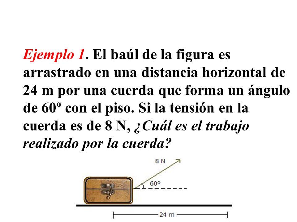 Ejemplo 1. El baúl de la figura es arrastrado en una distancia horizontal de 24 m por una cuerda que forma un ángulo de 60º con el piso. Si la tensión