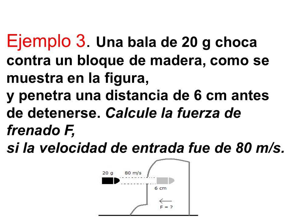 Ejemplo 3. Una bala de 20 g choca contra un bloque de madera, como se muestra en la figura, y penetra una distancia de 6 cm antes de detenerse. Calcul