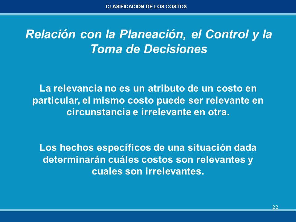 22 CLASIFICACIÓN DE LOS COSTOS Relación con la Planeación, el Control y la Toma de Decisiones La relevancia no es un atributo de un costo en particula