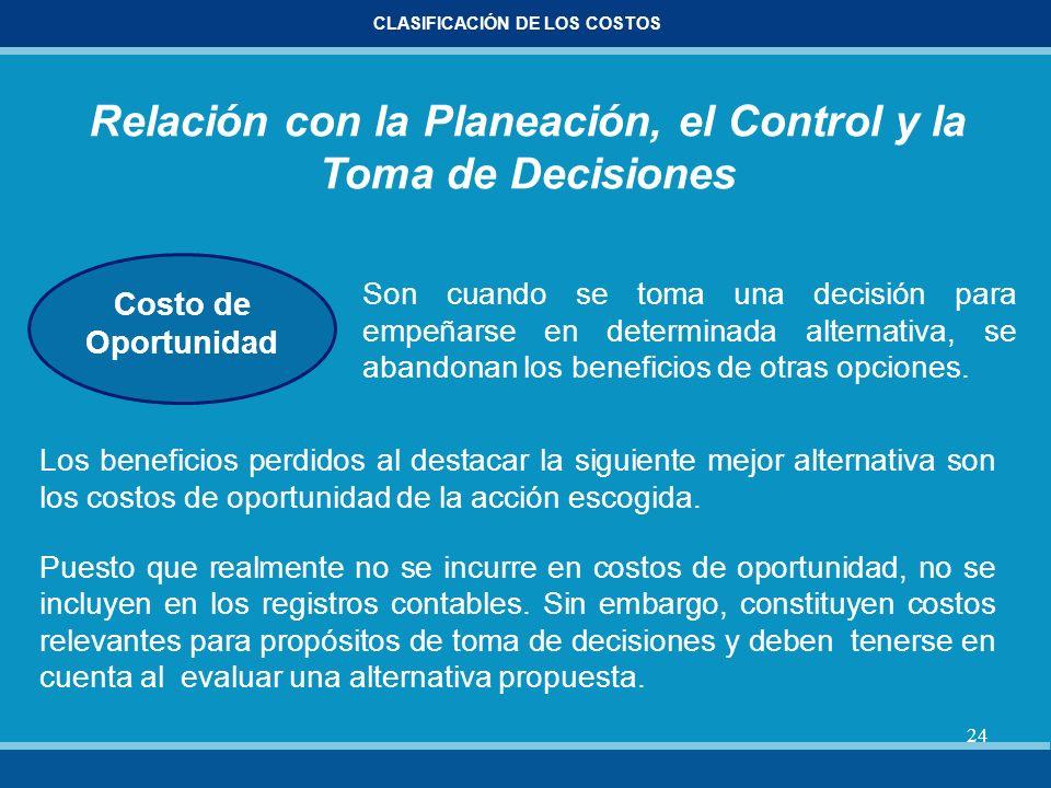 24 CLASIFICACIÓN DE LOS COSTOS Relación con la Planeación, el Control y la Toma de Decisiones Costo de Oportunidad Son cuando se toma una decisión par