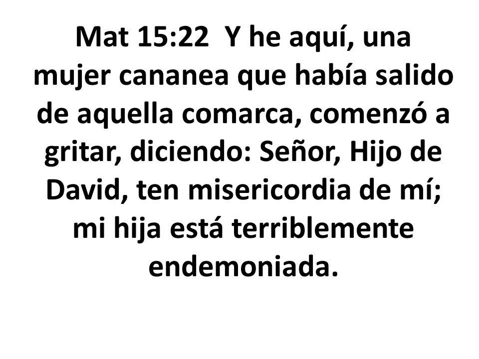 Mat 15:22 Y he aquí, una mujer cananea que había salido de aquella comarca, comenzó a gritar, diciendo: Señor, Hijo de David, ten misericordia de mí;