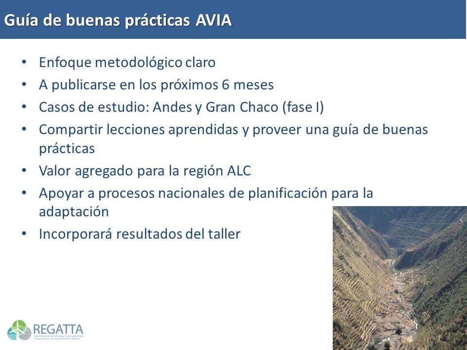 Enfoque metodológico claro A publicarse en los próximos 6 meses Casos de estudio: Andes y Gran Chaco (fase I) Compartir lecciones aprendidas y proveer