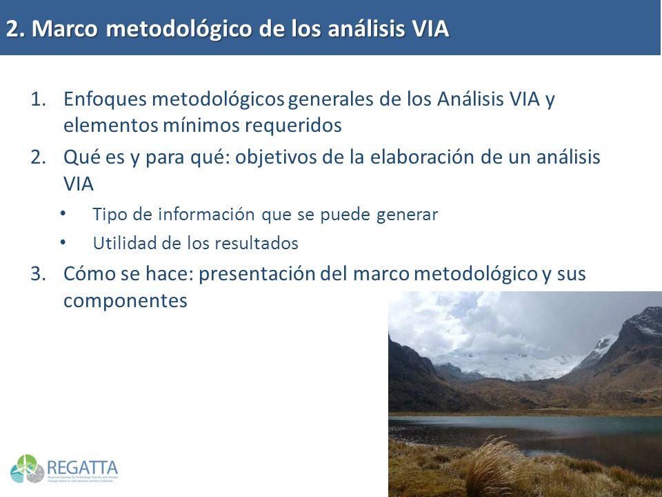 2. Marco metodológico de los análisis VIA 1.Enfoques metodológicos generales de los Análisis VIA y elementos mínimos requeridos 2.Qué es y para qué: o