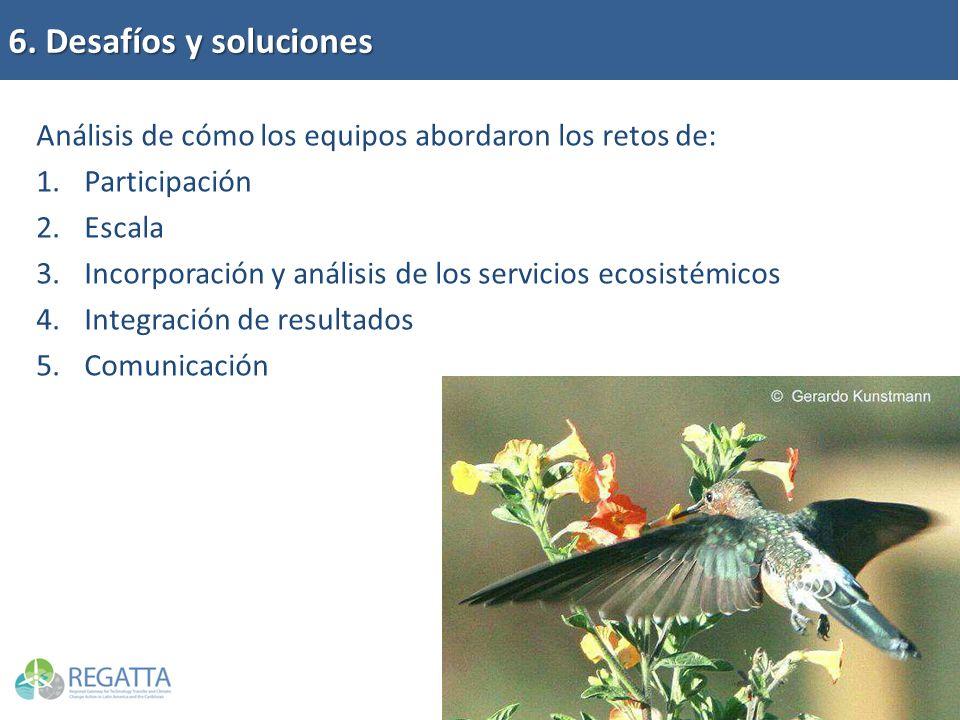 6. Desafíos y soluciones Análisis de cómo los equipos abordaron los retos de: 1.Participación 2.Escala 3.Incorporación y análisis de los servicios eco